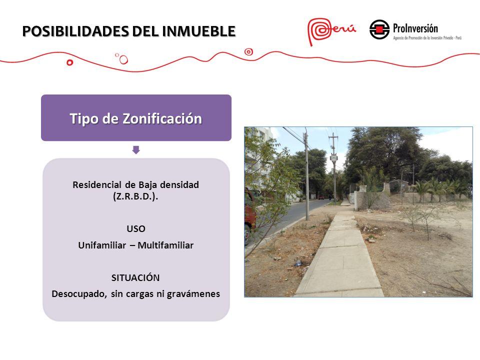POSIBILIDADES DEL INMUEBLE Tipo de Zonificación Residencial de Baja densidad (Z.R.B.D.). USO Unifamiliar – Multifamiliar SITUACIÓN Desocupado, sin car