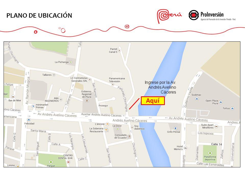 PLANO DE UBICACIÓN Aquí Ingrese por la Av. Andrés Avelino Cáceres