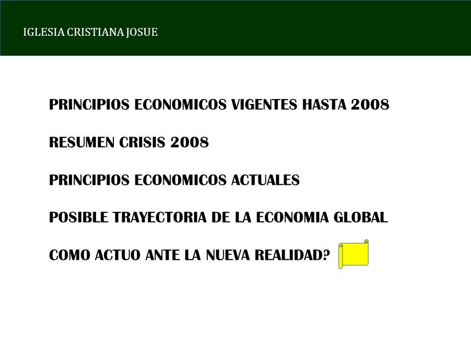 IGLESIA CRISTIANA JOSUE PRINCIPIOS ECONOMICOS VIGENTES HASTA 2008 RESUMEN CRISIS 2008 PRINCIPIOS ECONOMICOS ACTUALES POSIBLE TRAYECTORIA DE LA ECONOMIA GLOBAL COMO ACTUO ANTE LA NUEVA REALIDAD?