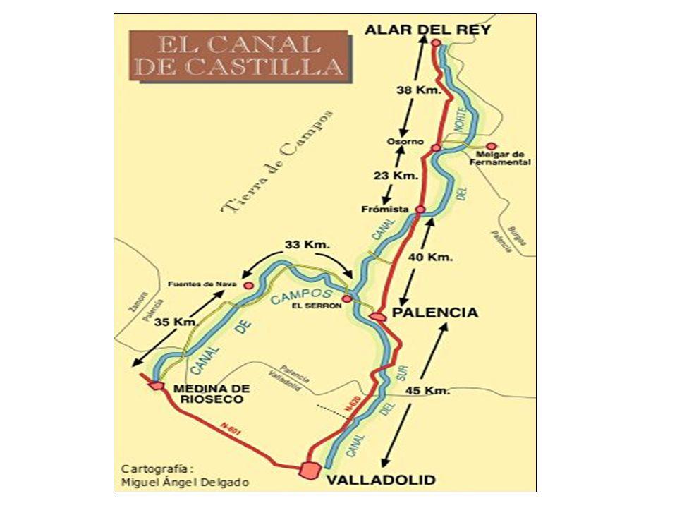 El recorrido de esta vía de agua es de 207 km., estando dividido su recorrido en tres grandes ramales. El RAMAL NORTE. Desde Alar del Rey (donde toma