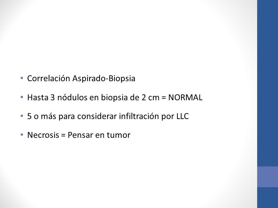 Correlación Aspirado-Biopsia Hasta 3 nódulos en biopsia de 2 cm = NORMAL 5 o más para considerar infiltración por LLC Necrosis = Pensar en tumor