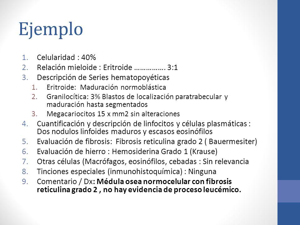 Ejemplo 1.Celularidad : 40% 2.Relación mieloide : Eritroide ……………. 3:1 3.Descripción de Series hematopoyéticas 1.Eritroide: Maduración normoblástica 2