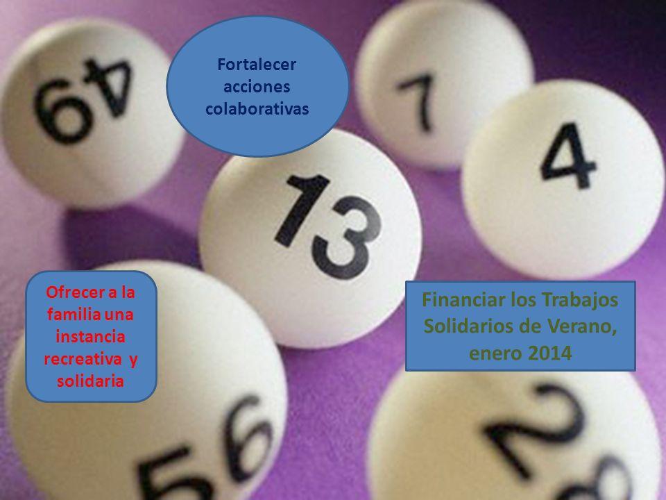 Fortalecer acciones colaborativas Financiar los Trabajos Solidarios de Verano, enero 2014 Ofrecer a la familia una instancia recreativa y solidaria