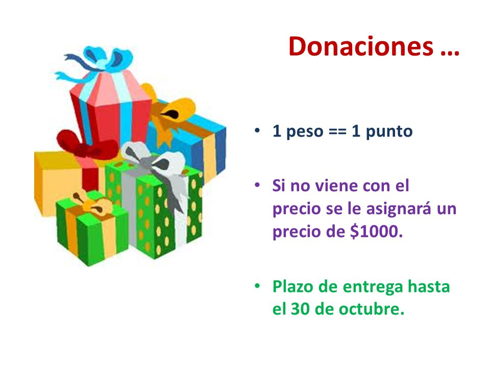 Donaciones … 1 peso == 1 punto Si no viene con el precio se le asignará un precio de $1000.