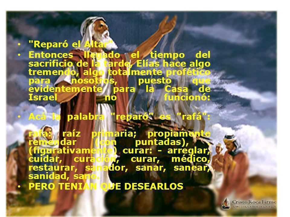SANÓ EL ALTAR, CURÓ EL ALTAR, ELÍAS FUE COMO UN MÉDICO CURANDO UN ÓRGANO ENFERMÓ DE PARTE DE DIOS.