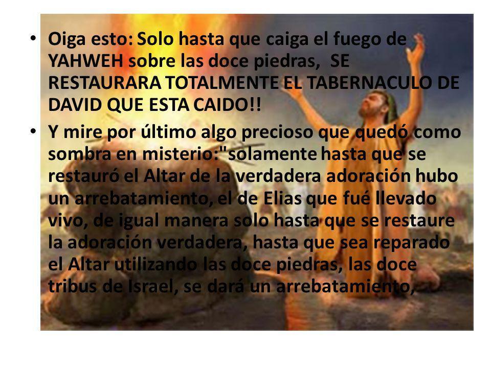 Oiga esto: Solo hasta que caiga el fuego de YAHWEH sobre las doce piedras, SE RESTAURARA TOTALMENTE EL TABERNACULO DE DAVID QUE ESTA CAIDO!! Y mire po