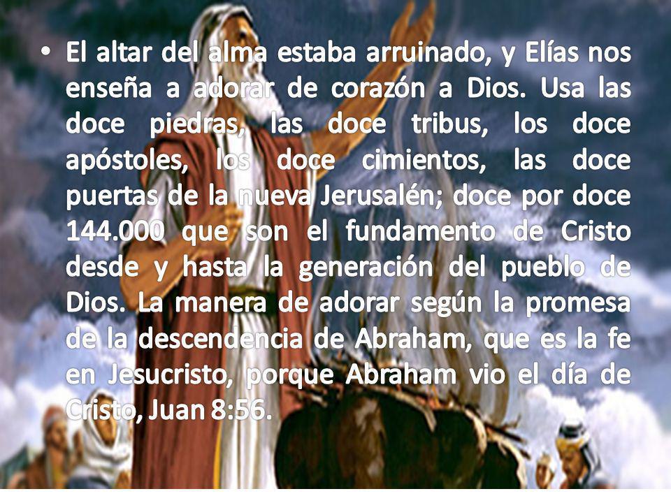 Elías ofrece un sacrificio aceptable a Dios; su alma, su vida, por ello viene la presencia al pueblo.