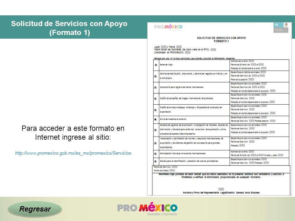 Solicitud de Servicios con Apoyo (Formato 1) Para acceder a este formato en Internet ingrese al sitio: http://www.promexico.gob.mx/es_mx/promexico/Ser