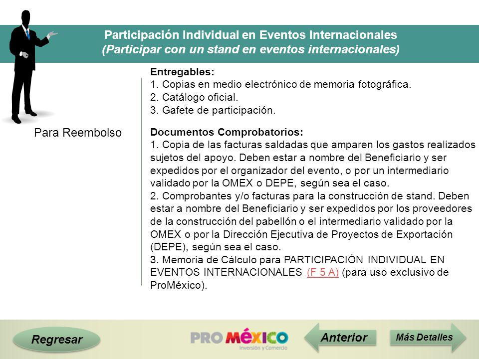 Regresar Participación Individual en Eventos Internacionales (Participar con un stand en eventos internacionales) Para Reembolso Anterior Entregables: