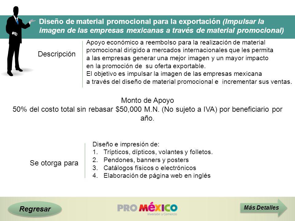 Regresar Diseño de material promocional para la exportación (Impulsar la imagen de las empresas mexicanas a través de material promocional) Descripció