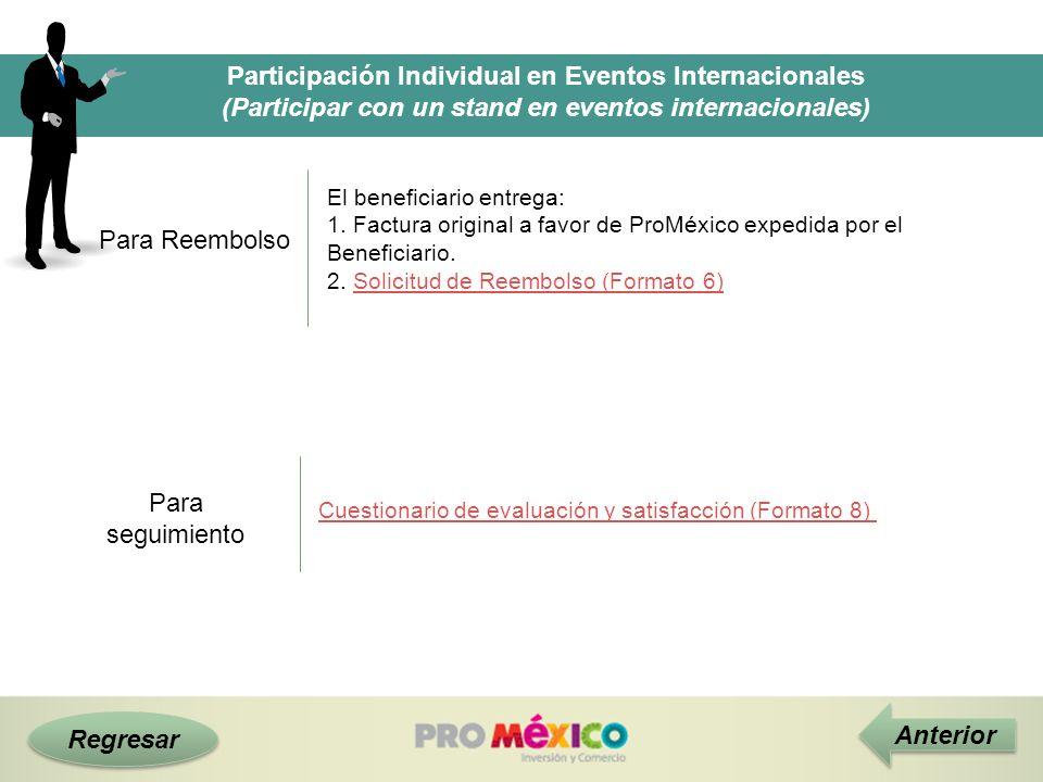 Regresar Participación Individual en Eventos Internacionales (Participar con un stand en eventos internacionales) Para Reembolso Anterior El beneficia