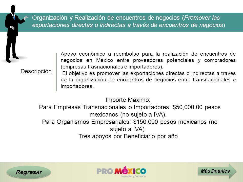 Descripción Más Detalles Apoyo económico a reembolso para la realización de encuentros de negocios en México entre proveedores potenciales y comprador