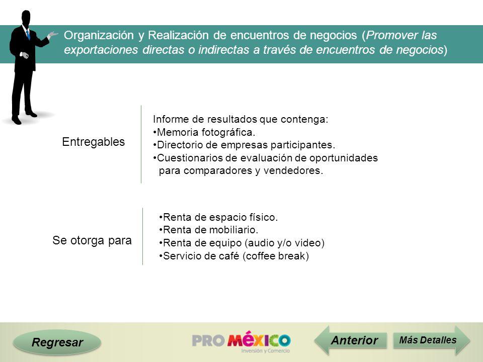 Regresar Entregables Más Detalles Informe de resultados que contenga: Memoria fotográfica. Directorio de empresas participantes. Cuestionarios de eval