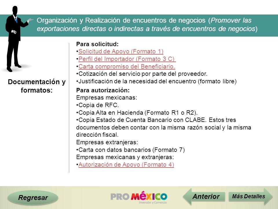 Documentación y formatos: Regresar Anterior Más Detalles Organización y Realización de encuentros de negocios (Promover las exportaciones directas o i