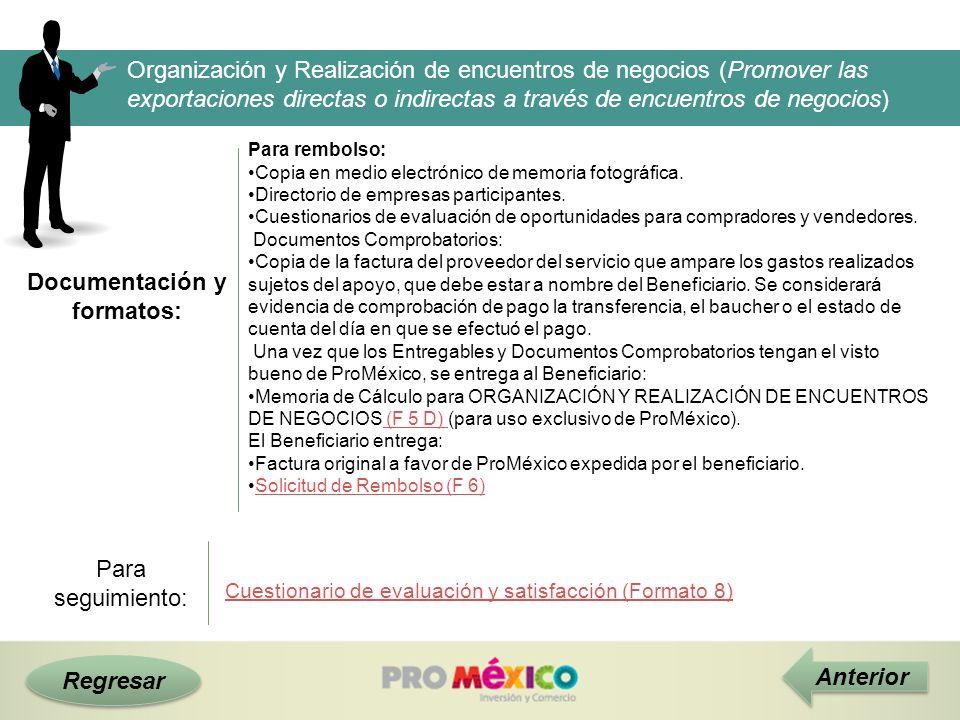 Documentación y formatos: Regresar Anterior Organización y Realización de encuentros de negocios (Promover las exportaciones directas o indirectas a t