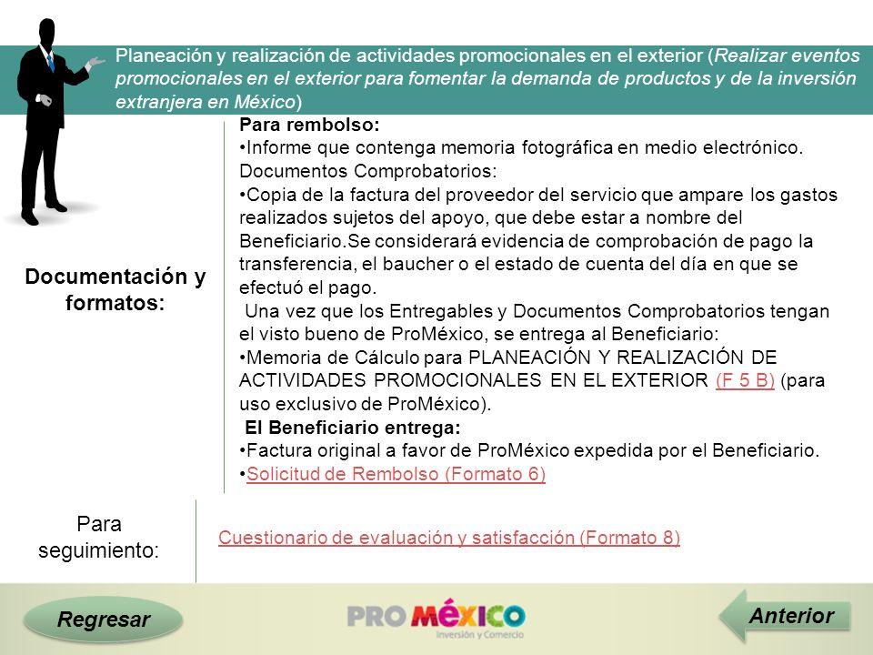 Documentación y formatos: Regresar Anterior Planeación y realización de actividades promocionales en el exterior (Realizar eventos promocionales en el