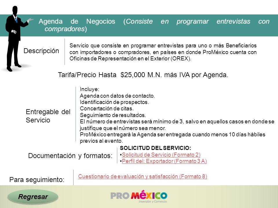 Regresar Descripción Tarifa/Precio Hasta $25,000 M.N. más IVA por Agenda. Agenda de Negocios (Consiste en programar entrevistas con compradores) Servi