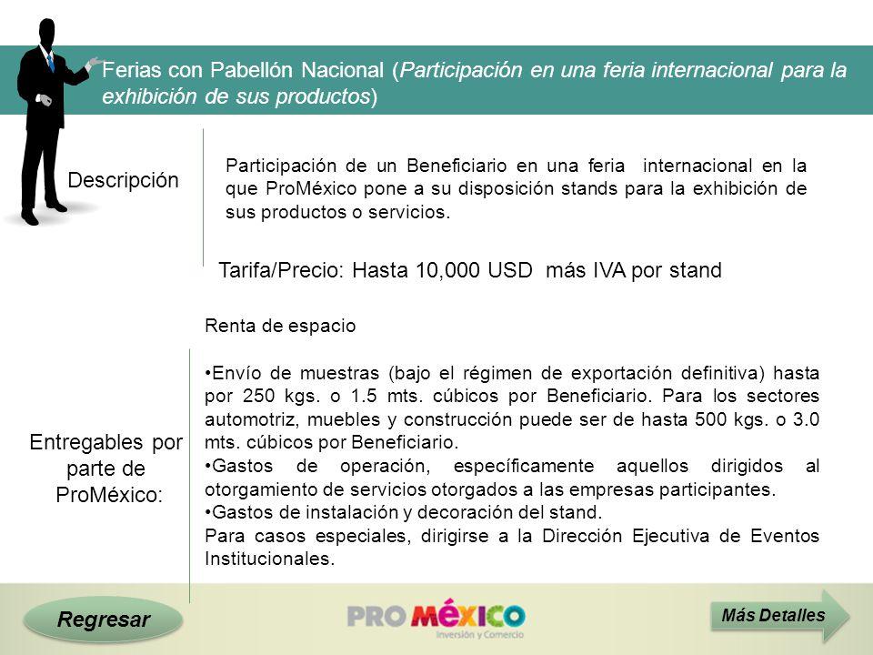 Descripción Tarifa/Precio: Hasta 10,000 USD más IVA por stand Más Detalles Ferias con Pabellón Nacional (Participación en una feria internacional para