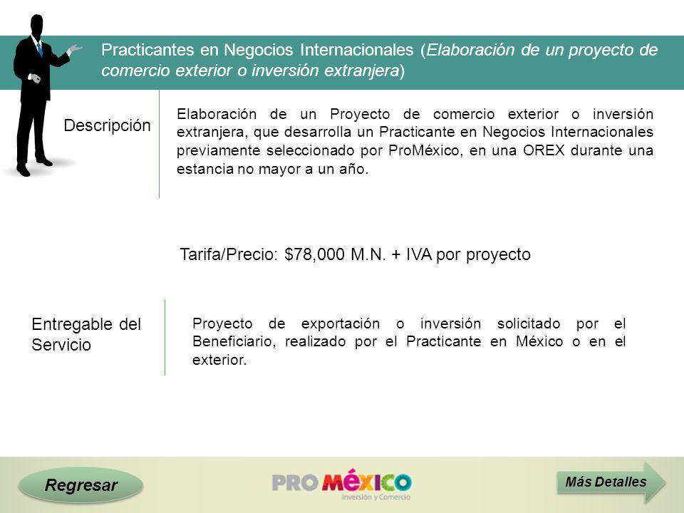 Descripción Tarifa/Precio: $78,000 M.N. + IVA por proyecto Practicantes en Negocios Internacionales (Elaboración de un proyecto de comercio exterior o