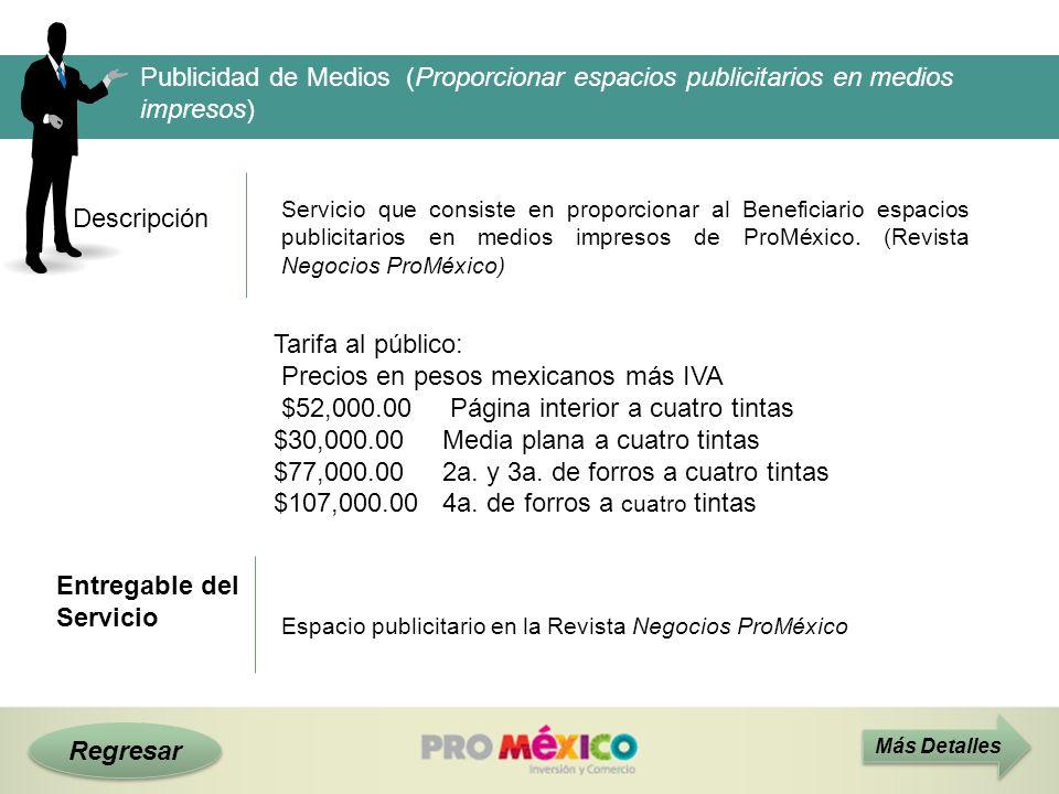 Descripción Publicidad de Medios (Proporcionar espacios publicitarios en medios impresos) Servicio que consiste en proporcionar al Beneficiario espaci