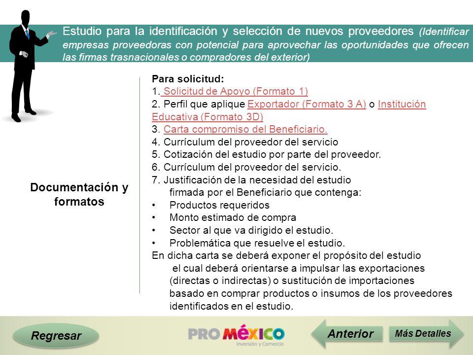 Documentación y formatos Regresar Anterior Para solicitud: 1. Solicitud de Apoyo (Formato 1) Solicitud de Apoyo (Formato 1) 2. Perfil que aplique Expo