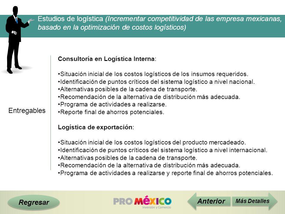 Regresar Entregables Más Detalles Consultoría en Logística Interna: Situación inicial de los costos logísticos de los insumos requeridos. Identificaci
