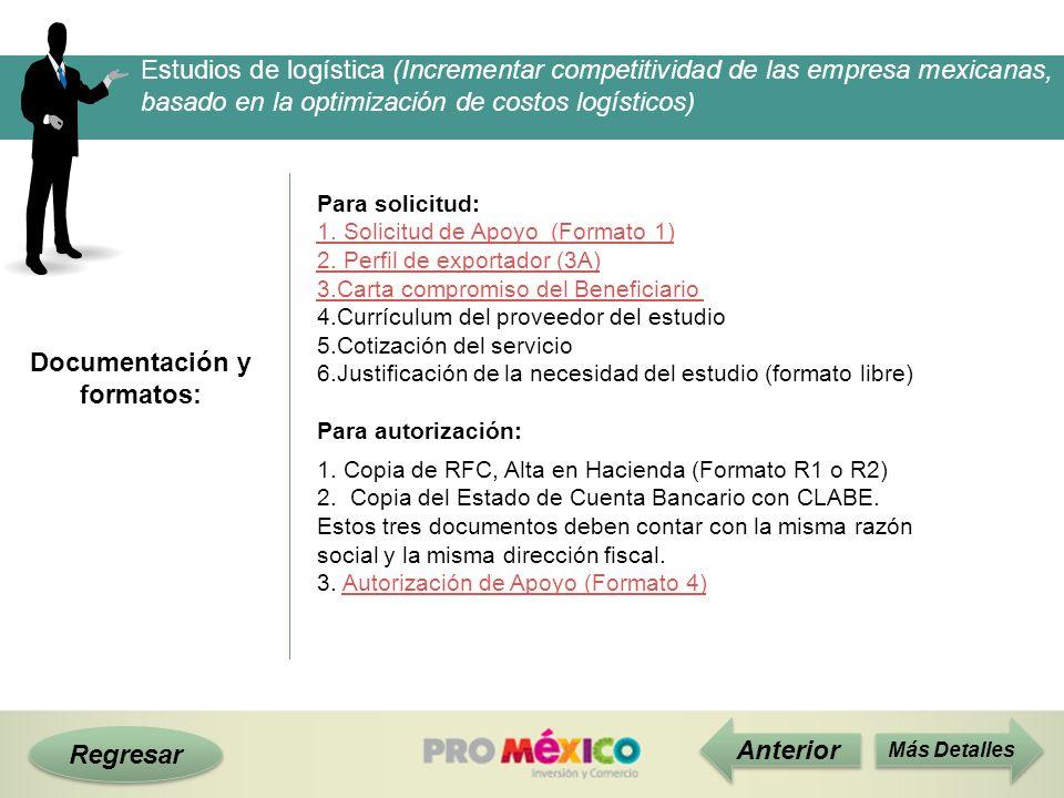 Documentación y formatos: Regresar Anterior Para solicitud: 1. Solicitud de Apoyo (Formato 1) 2. Perfil de exportador (3A) 3.Carta compromiso del Bene