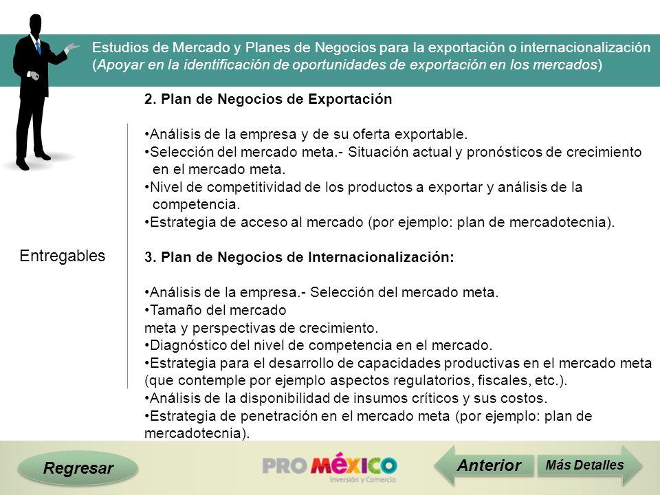 Regresar Entregables Más Detalles 2. Plan de Negocios de Exportación Análisis de la empresa y de su oferta exportable. Selección del mercado meta.- Si