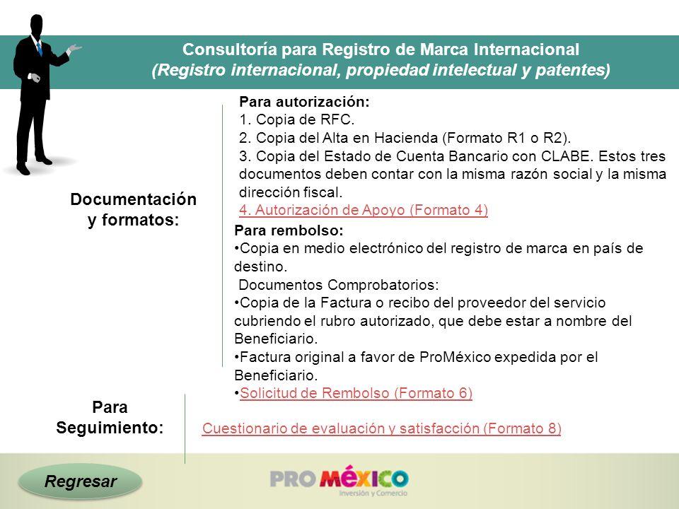 Regresar Consultoría para Registro de Marca Internacional (Registro internacional, propiedad intelectual y patentes) Para Seguimiento: Documentación y