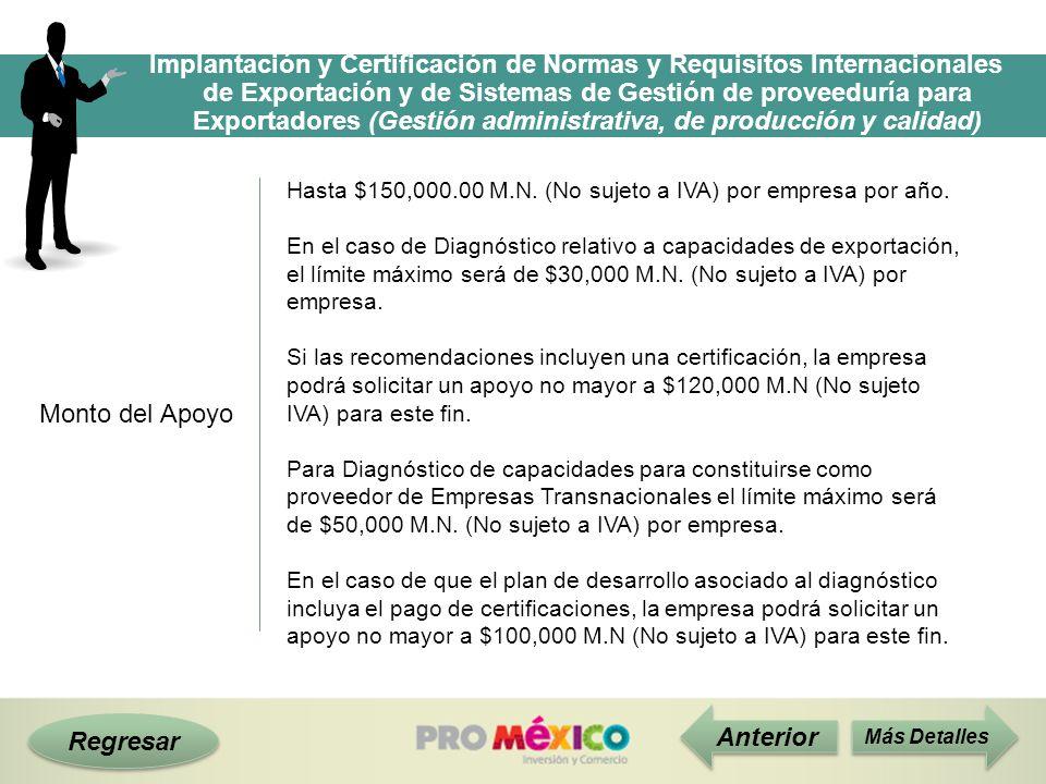 Regresar Monto del Apoyo Hasta $150,000.00 M.N. (No sujeto a IVA) por empresa por año. En el caso de Diagnóstico relativo a capacidades de exportación
