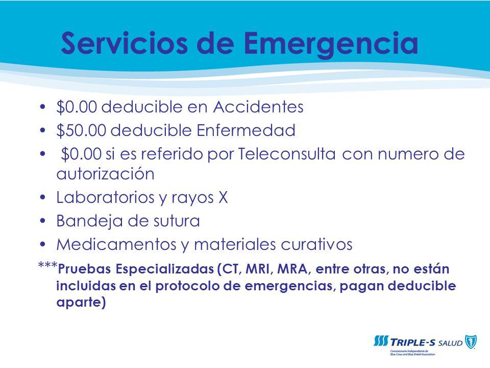 $0.00 deducible en Accidentes $50.00 deducible Enfermedad $0.00 si es referido por Teleconsulta con numero de autorización Laboratorios y rayos X Band
