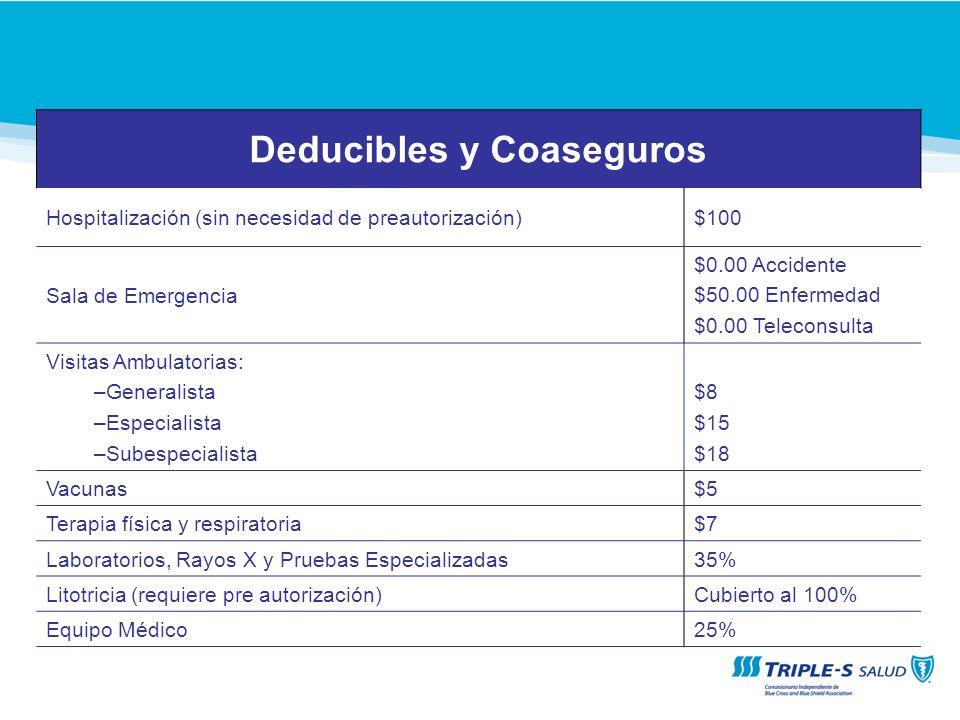 Deducibles y Coaseguros Hospitalización (sin necesidad de preautorización)$100 Sala de Emergencia $0.00 Accidente $50.00 Enfermedad $0.00 Teleconsulta