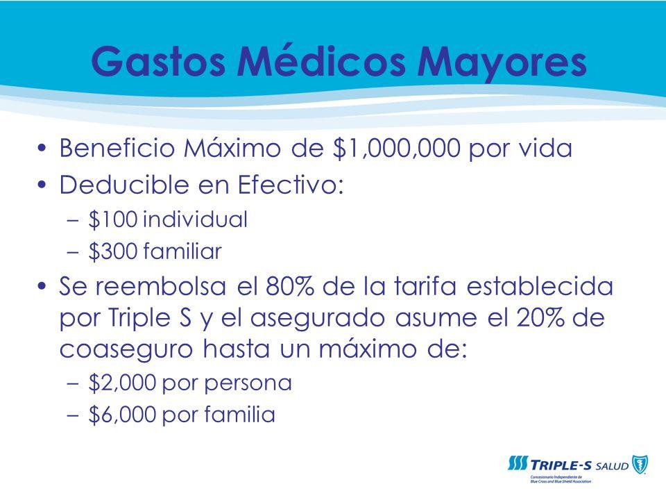 Beneficio Máximo de $1,000,000 por vida Deducible en Efectivo: –$100 individual –$300 familiar Se reembolsa el 80% de la tarifa establecida por Triple