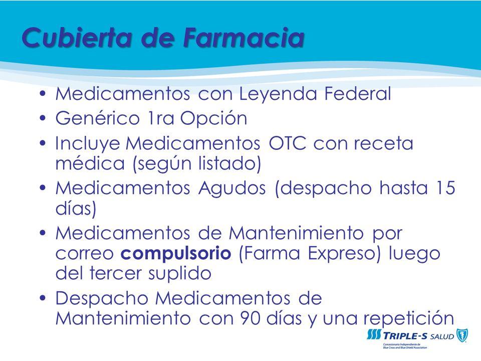 Medicamentos con Leyenda Federal Genérico 1ra Opción Incluye Medicamentos OTC con receta médica (según listado) Medicamentos Agudos (despacho hasta 15