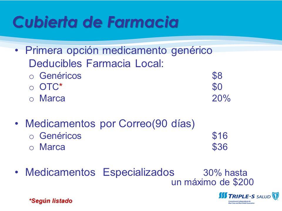 Primera opción medicamento genérico Deducibles Farmacia Local: o Genéricos $8 o OTC*$0 o Marca 20% Medicamentos por Correo(90 días) o Genéricos $16 o