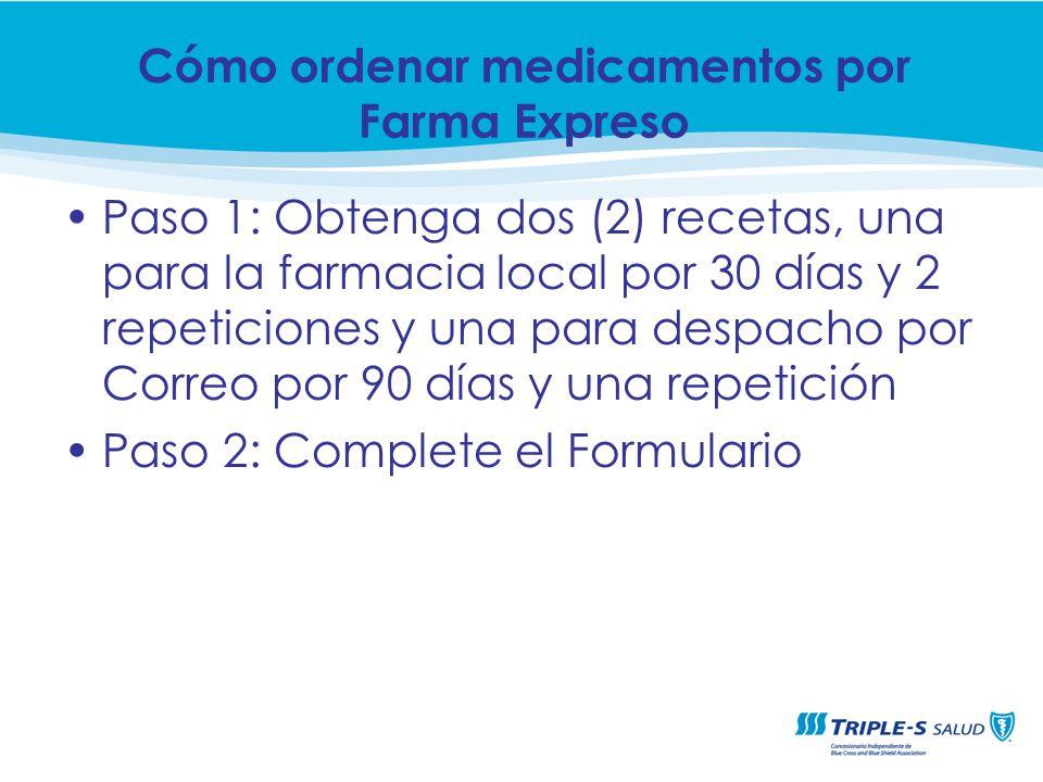 Paso 1: Obtenga dos (2) recetas, una para la farmacia local por 30 días y 2 repeticiones y una para despacho por Correo por 90 días y una repetición P
