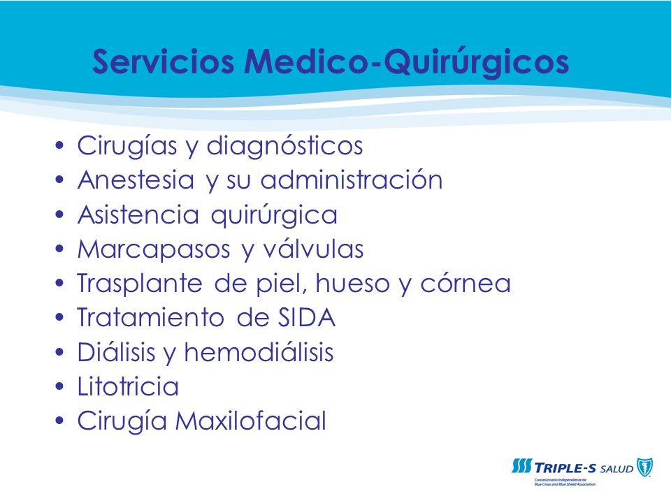 Cirugías y diagnósticos Anestesia y su administración Asistencia quirúrgica Marcapasos y válvulas Trasplante de piel, hueso y córnea Tratamiento de SI