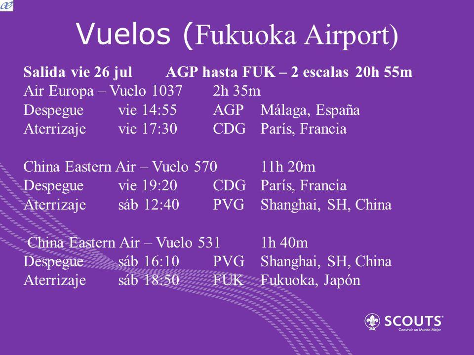 Vuelos ( Fukuoka Airport) Salida vie 26 julAGP hasta FUK – 2 escalas20h 55m Air Europa – Vuelo 1037 2h 35m Despeguevie 14:55AGPMálaga, España Aterriza