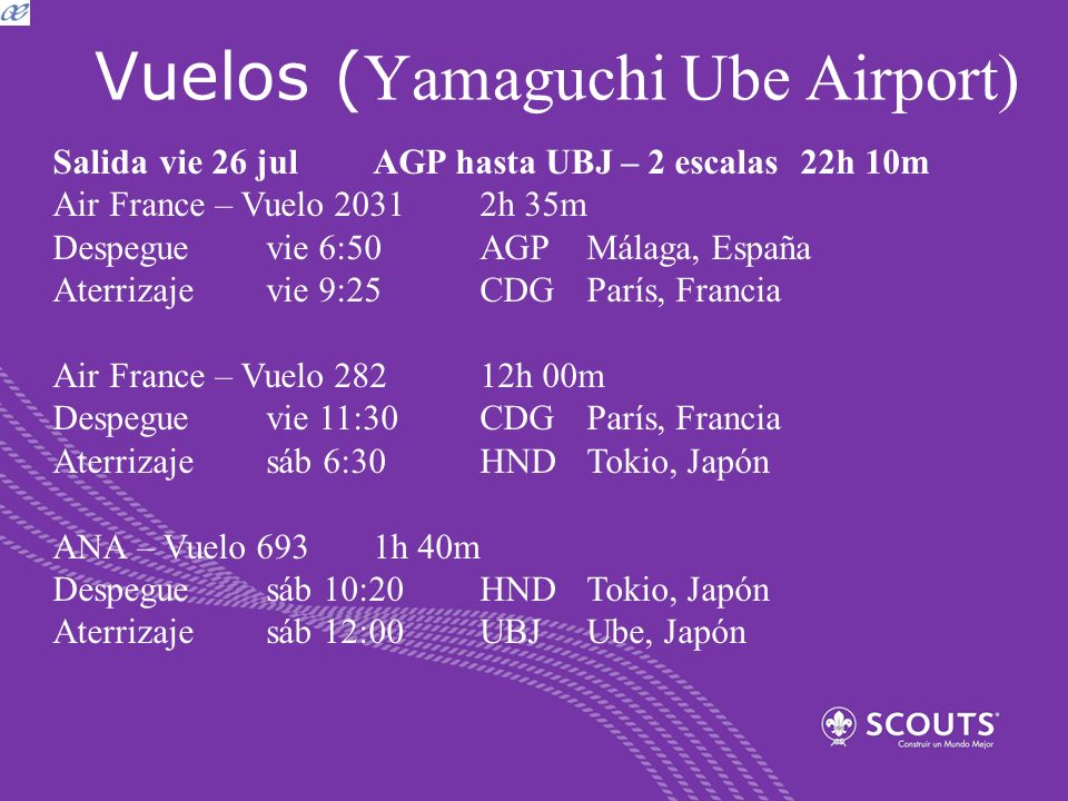 Vuelos ( Yamaguchi Ube Airport) Salida vie 26 julAGP hasta UBJ – 2 escalas22h 10m Air France – Vuelo 2031 2h 35m Despeguevie 6:50AGPMálaga, España Ate