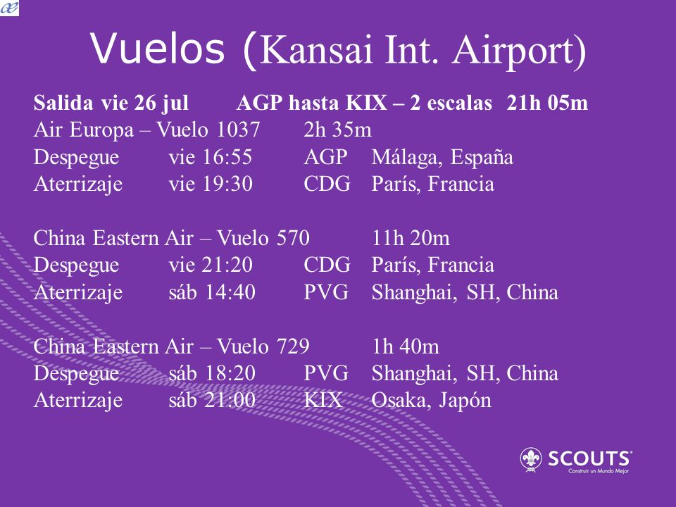 Vuelos ( Kansai Int. Airport) Salida vie 26 julAGP hasta KIX – 2 escalas21h 05m Air Europa – Vuelo 1037 2h 35m Despeguevie 16:55AGPMálaga, España Ater