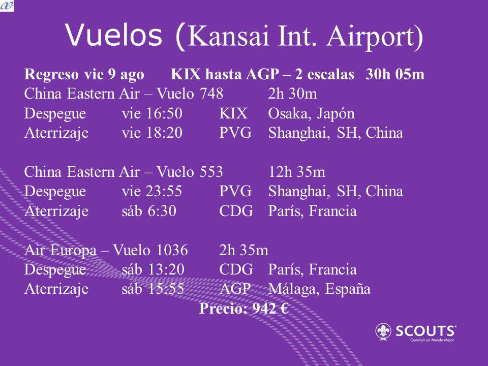 Vuelos ( Kansai Int. Airport) Regreso vie 9 agoKIX hasta AGP – 2 escalas30h 05m China Eastern Air – Vuelo 748 2h 30m Despeguevie 16:50KIXOsaka, Japón