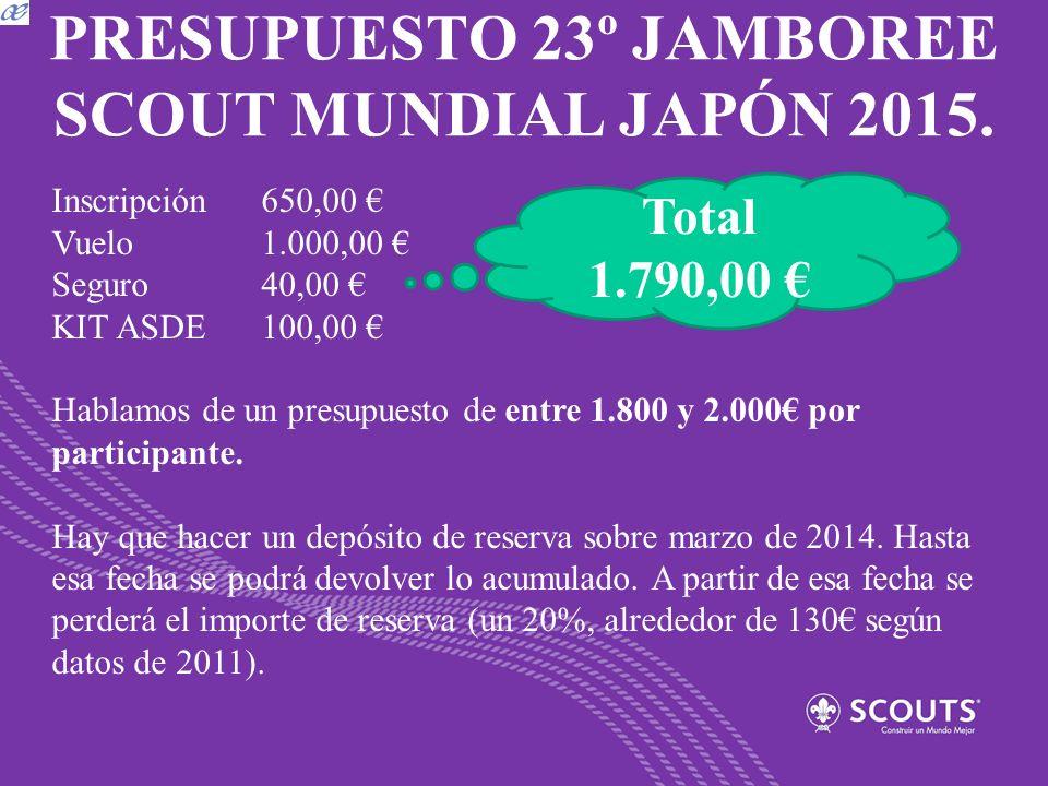 PRESUPUESTO 23º JAMBOREE SCOUT MUNDIAL JAPÓN 2015. Inscripción650,00 Vuelo1.000,00 Seguro40,00 KIT ASDE100,00 Hablamos de un presupuesto de entre 1.80