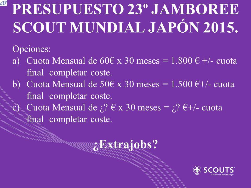 PRESUPUESTO 23º JAMBOREE SCOUT MUNDIAL JAPÓN 2015. Opciones: a)Cuota Mensual de 60 x 30 meses = 1.800 +/- cuota final completar coste. b)Cuota Mensual