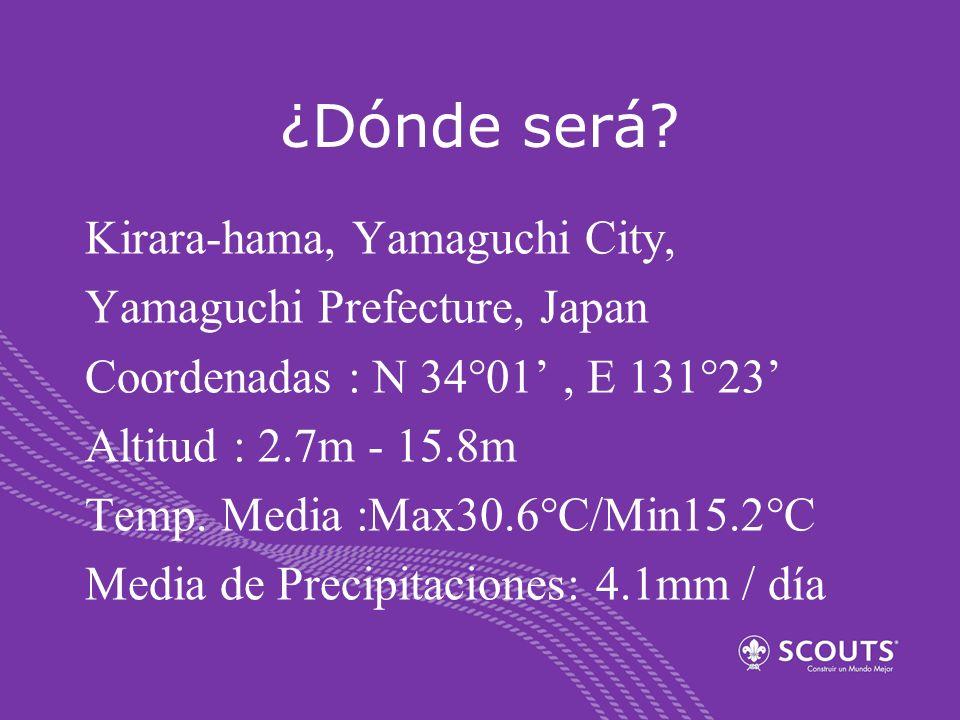 ¿Dónde será? Kirara-hama, Yamaguchi City, Yamaguchi Prefecture, Japan Coordenadas : N 34°01, E 131°23 Altitud : 2.7m - 15.8m Temp. Media :Max30.6°C/Mi