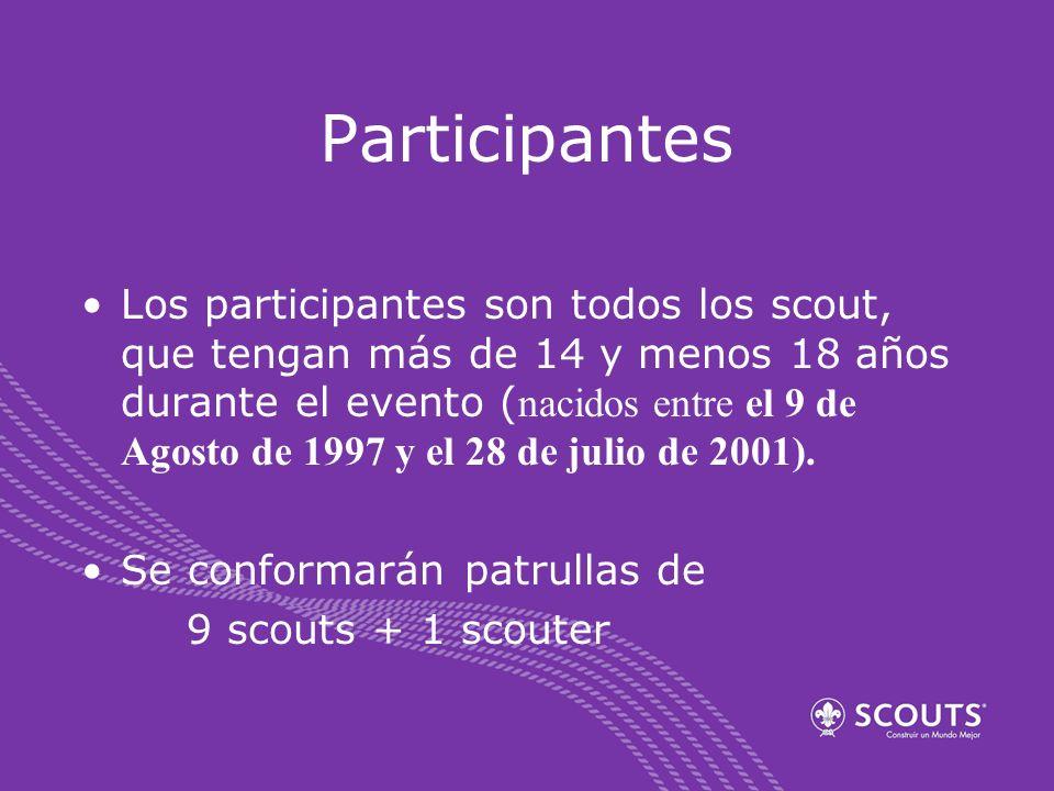 Participantes Los participantes son todos los scout, que tengan más de 14 y menos 18 años durante el evento ( nacidos entre el 9 de Agosto de 1997 y e
