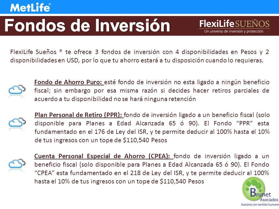 FlexiLife Sueños ® te ofrece 3 fondos de inversión con 4 disponibilidades en Pesos y 2 disponibilidades en USD, por lo que tu ahorro estará a tu disposición cuando lo requieras.