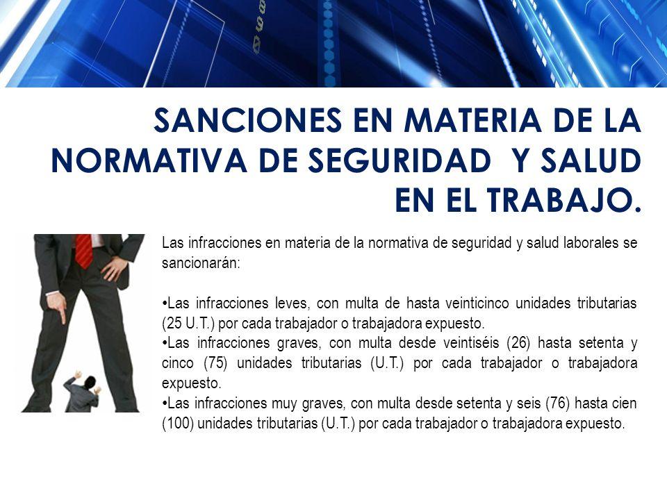 Las infracciones en materia de la normativa de seguridad y salud laborales se sancionarán: Las infracciones leves, con multa de hasta veinticinco unid