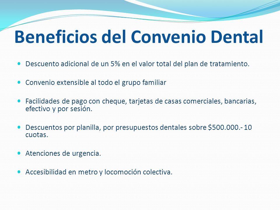 Beneficios del Convenio Dental Descuento adicional de un 5% en el valor total del plan de tratamiento.