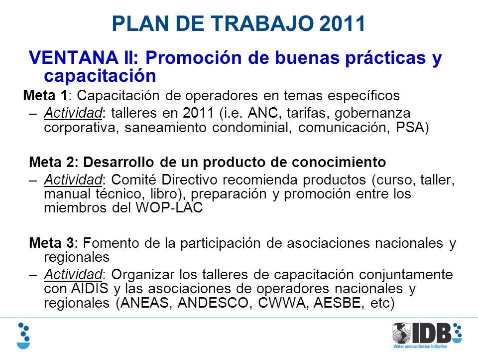 PLAN DE TRABAJO 2011 VENTANA II: Promoción de buenas prácticas y capacitación Meta 1: Capacitación de operadores en temas específicos –Actividad: tall