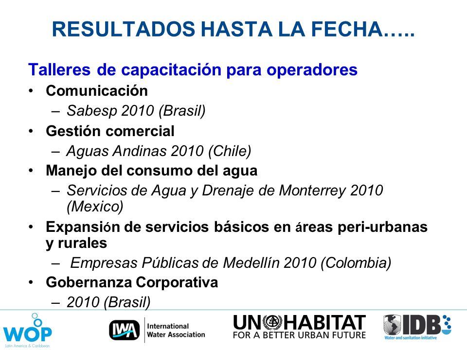 RESULTADOS HASTA LA FECHA….. Talleres de capacitación para operadores Comunicaci ó n –Sabesp 2010 (Brasil) Gestión comercial –Aguas Andinas 2010 (Chil